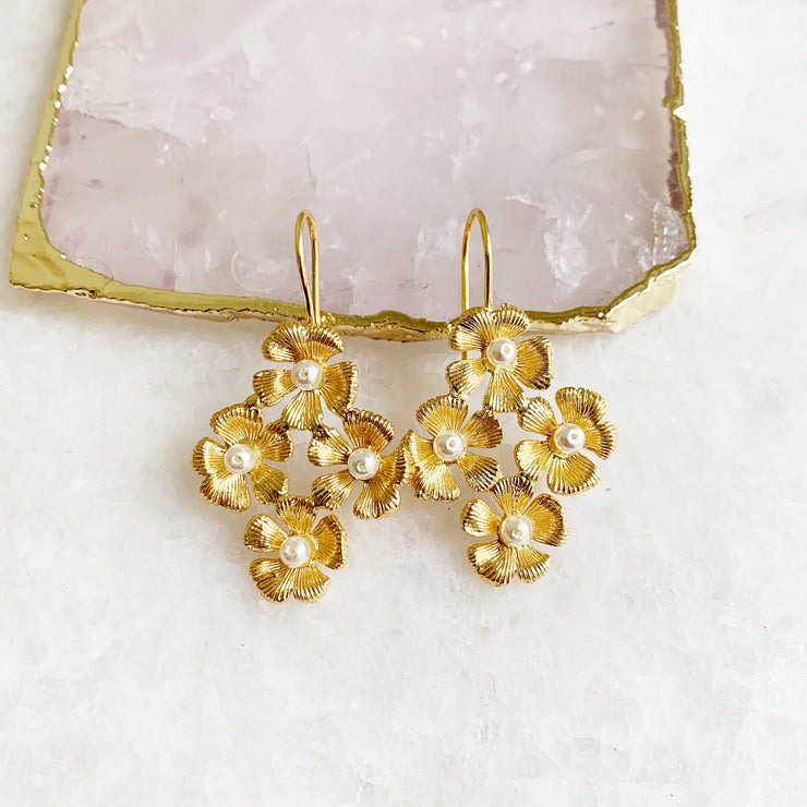 Quad Flower Hook Earrings