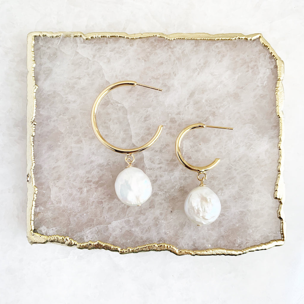 Half Hoop with Coin Pearl (two sizes)