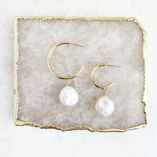 Half Hoop with Coin Pearl (three sizes)