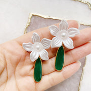 Acetate Petal Studs and Emerald Drop Earrings