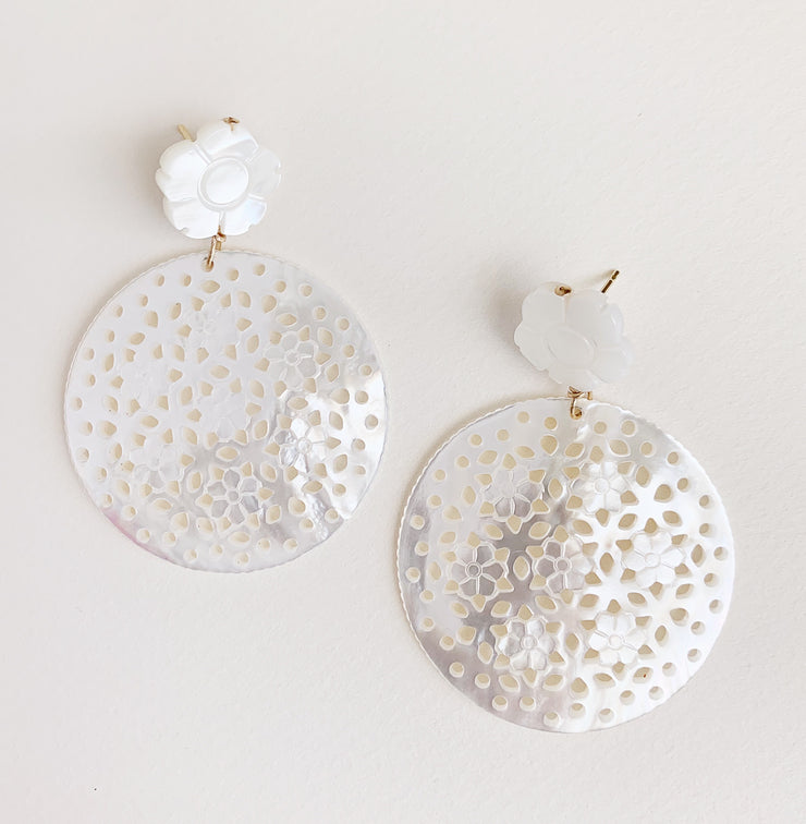 Double Mother of Pearl Disk Earrings