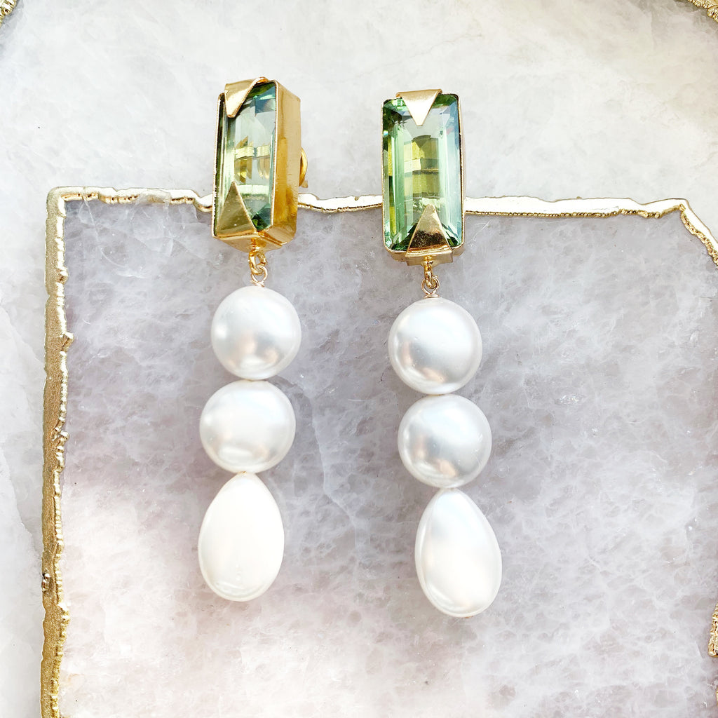 Green Quartz and Triple Drop Earrings