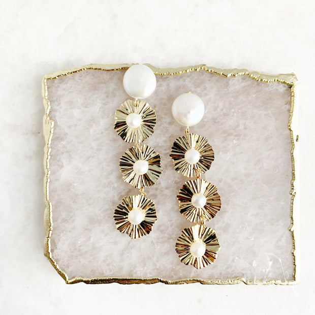 Coin Pearl and Three Sphere Drop Earrings