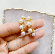 Floral Hoops with Pearls