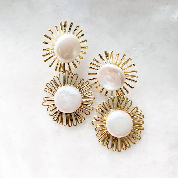 Astrid Double Pearl Drop Earrings