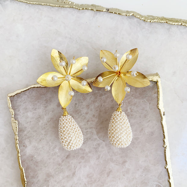 Five Petal and Studded Pearl Drop Earrings