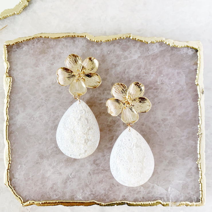 Gold Flower and Carved Mother of Pearl