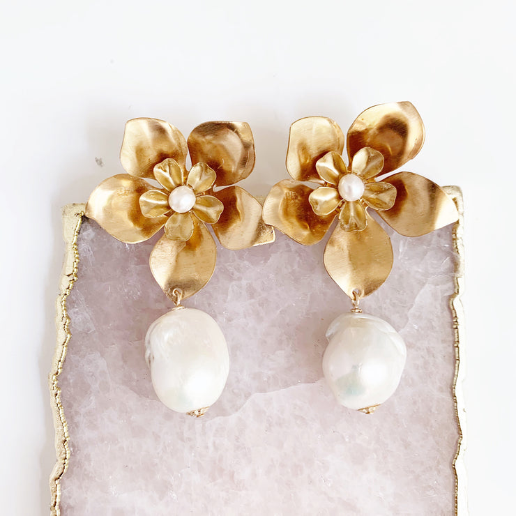 Large Double Flower Studs and Baroque Pearl