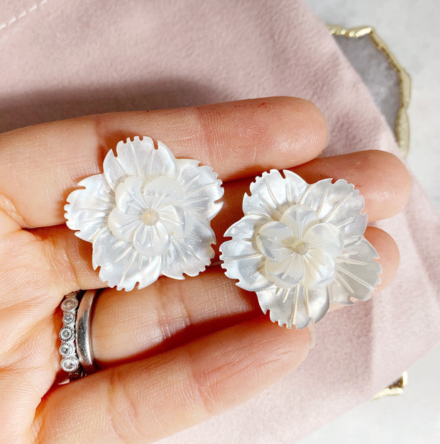 Large Double Carved Flower Studs