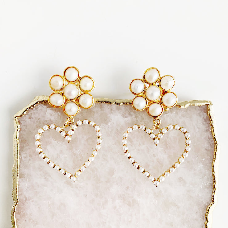 Seven Pearl Custer and Heart Earrings