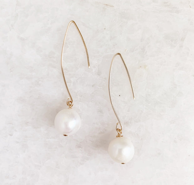 Wire and Drop Pearl Earrings