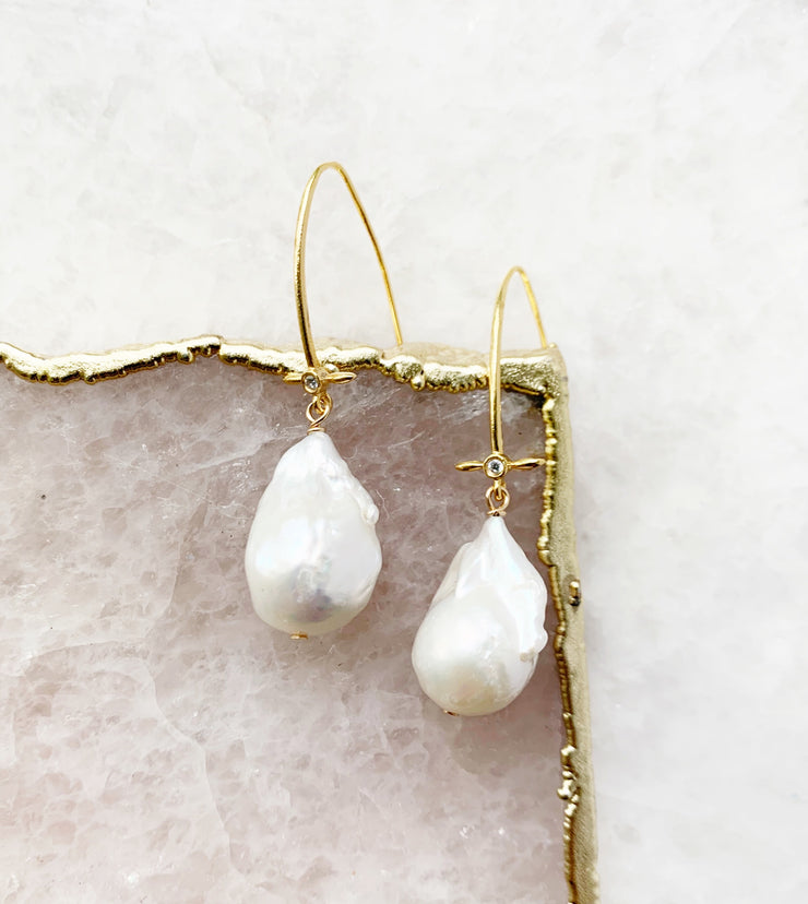 Mini Cross Hook and Baroque Pearl Earrings
