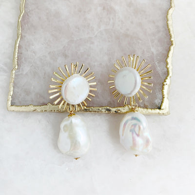 Astrid Earrings with Baroque Pearl Drop