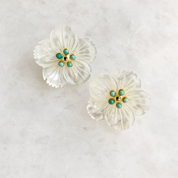 Five Point Turquoise and Flower Studs