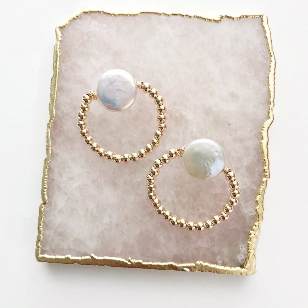 Front Facing Pearl Hoops
