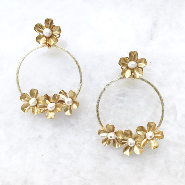 Mia Brass Flower Hoops