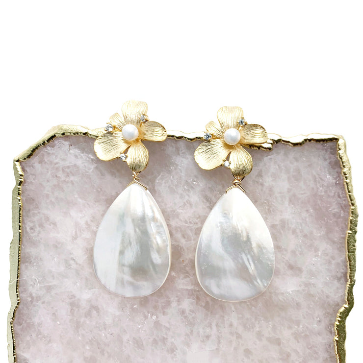 Large Anne Earrings with Center Pearls