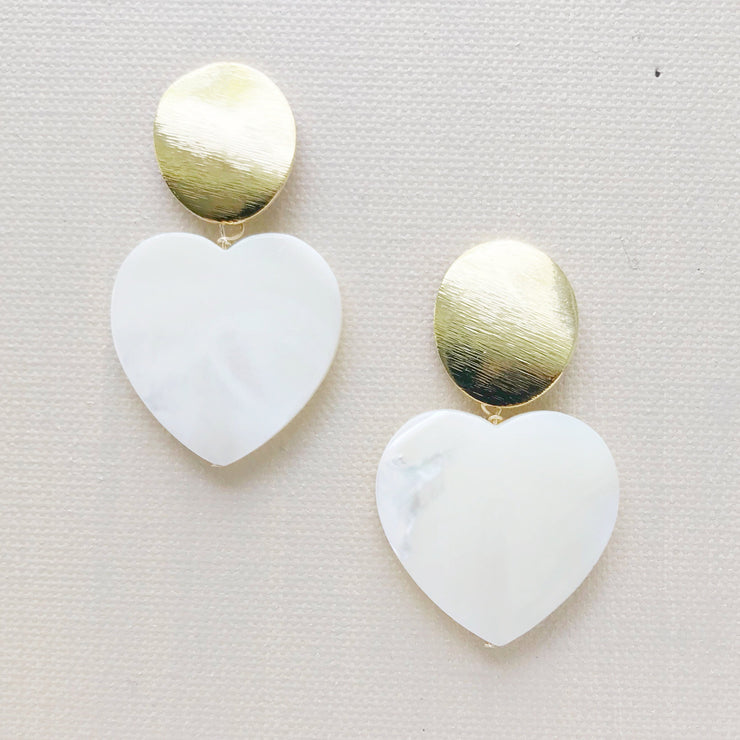 Mother of Pearl Heart Drop Earrings