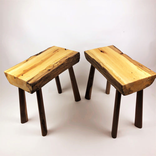 Black Gum Benches with Walnut Legs (Set of 2)
