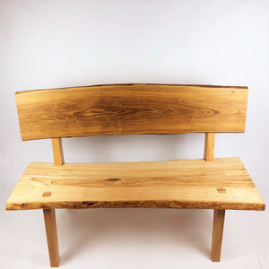Live Edge Ash And Locust Bench With Backrest