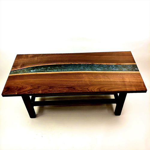 Walnut And Epoxy Resin River Coffee Table With Magazine Rack