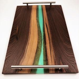 Walnut Epoxy Resin River Serving Tray