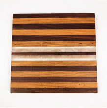 Multi Wood End Grain Cutting Board with White and Clear Epoxy Resin