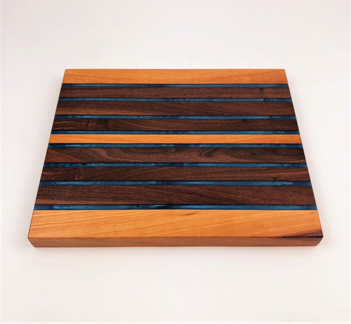 End Grain Walnut And Cherry Epoxy Resin Cutting Board
