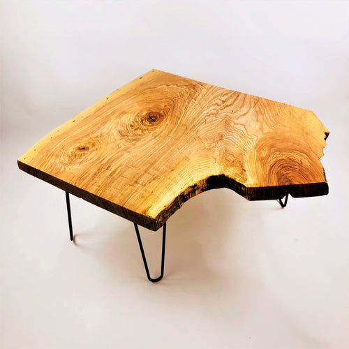 Ash Coffee Table with Black Metal Hairpin Legs