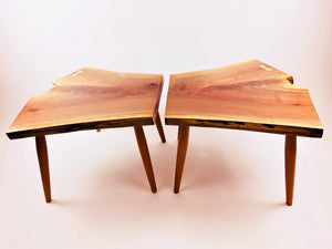 Bookend Live Edge Walnut Coffee Tables With Cherry Legs and Sycamore Butterfly Key