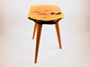 Live Edge Cherry Burl Stool With Cherry Legs