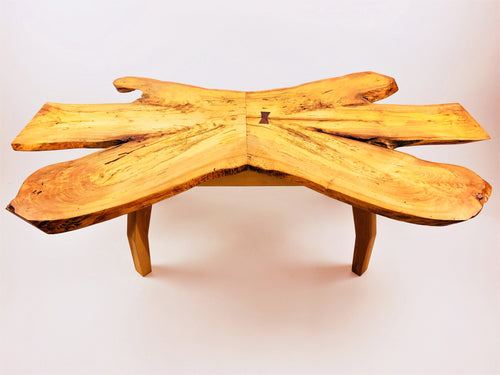 Maple Coffee Table With Beech Legs and Walnut Butterfly Key