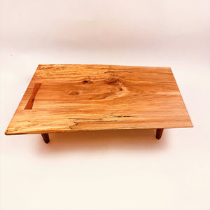 Live Edge Maple Display Table With Cherry Legs and Butterfly Key