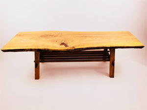 Ash Coffee Table with Walnut and Cherry Base and Magazine Rack