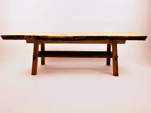 Live Edge Ash Coffee Table with Walnut and Cherry Base and Magazine Rack