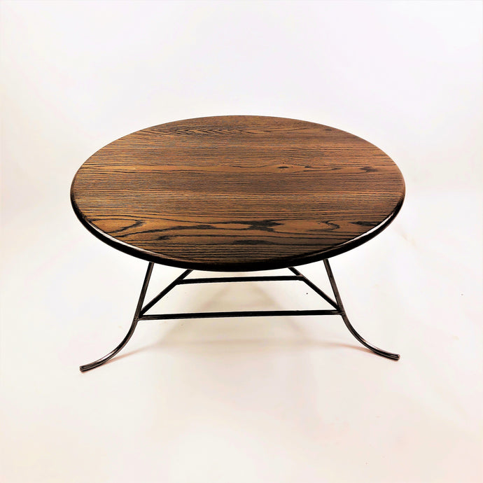Red Oak Circular Coffee Table with Hand-Welded Silver Steel legs and Magazine Rack