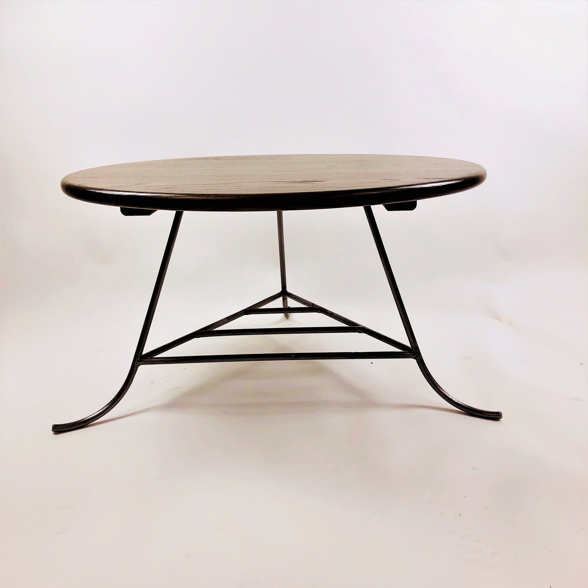 - Red Oak Circular Coffee Table With Hand-Welded Silver Steel Legs