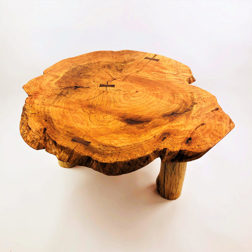 Red Oak Burl Coffe Table with White Pine Log Legs