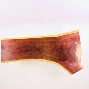 Live Edge Walnut Coffee Table with Ash Legs and Cherry Butterfly Key