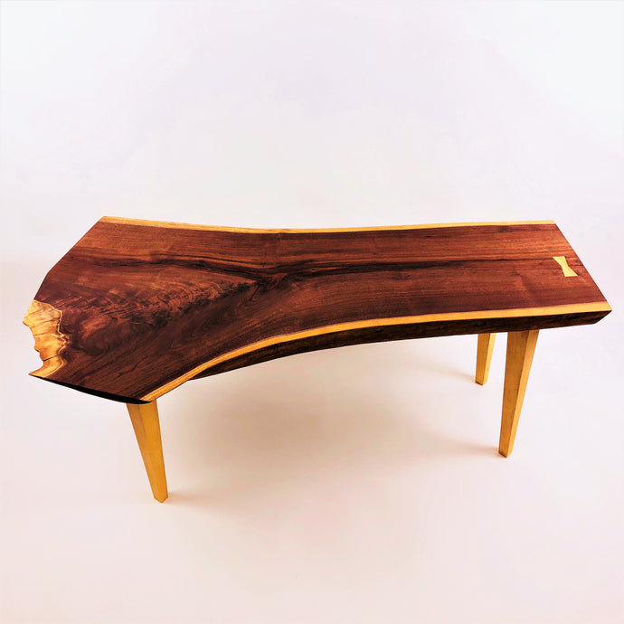 Live Edge Walnut Coffee Table with Sycamore Legs and Butterfly Key