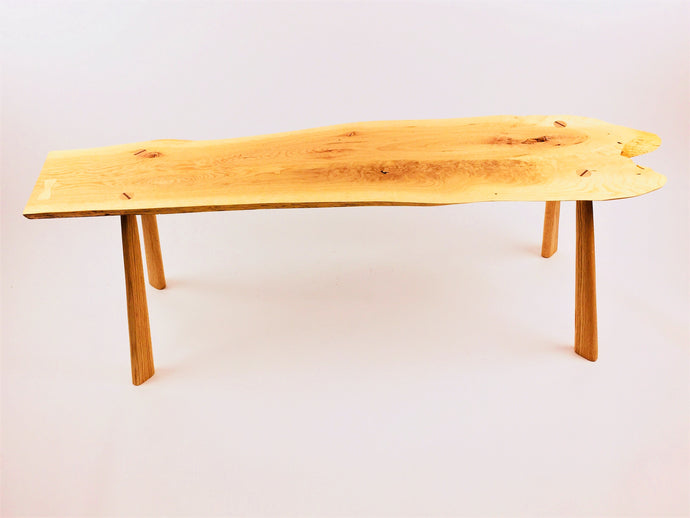 White Oak Bench With Red Oak legs and White Oak butterfly key