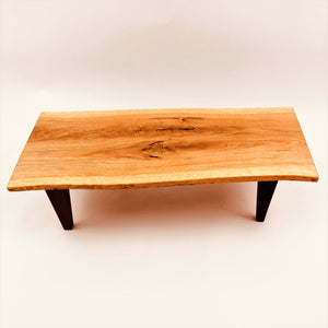 Live Edge White Oak Display Table With Walnut Legs