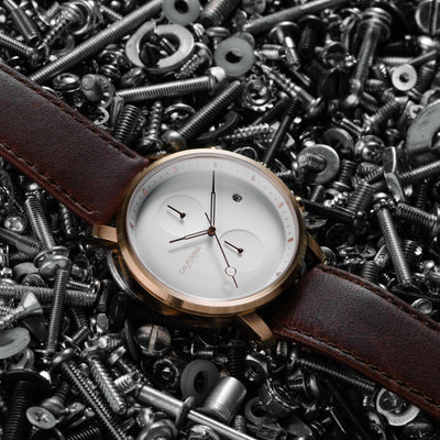California Watch Co Golden Gate Chrono Leather Rose Gold White