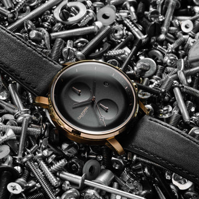 California Watch Co Golden Gate Chrono Leather Rose Gold Black