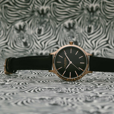 California Watch Co Laguna 34 Leather Rose Gold Black