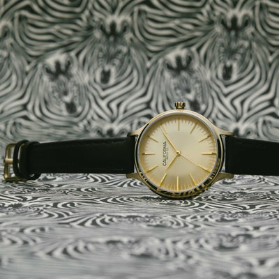 California Watch Co Laguna 34 Leather Gold Black