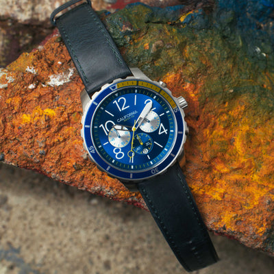 Mavericks Chrono Leather Navy Yellow