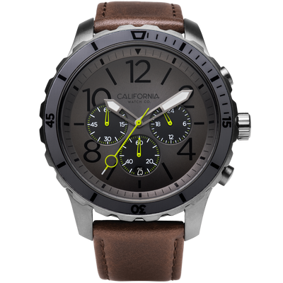 Mavericks Chrono Leather Gunmetal Brown California Watch Co