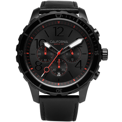 Mavericks Chrono Leather All Black Red California Watch Co