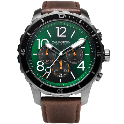 Mavericks Chrono Leather Dark Brown Green California Watch Co